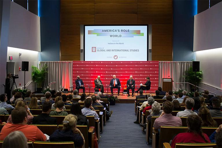 Panel discussion at America's Role in the World conference at IU Bloomington.