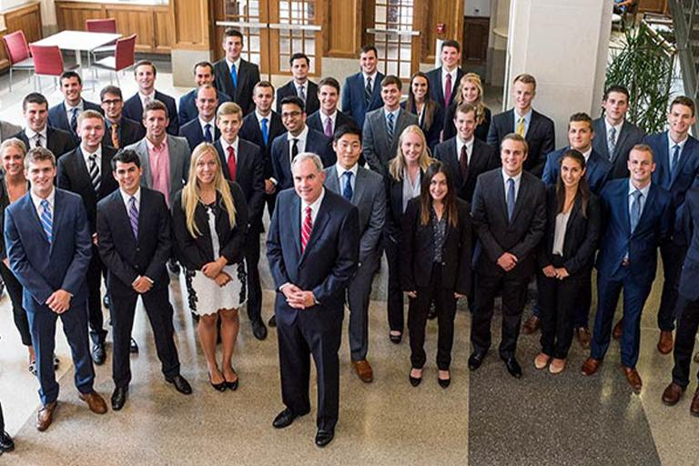 Group photo of students from the Kelley School of Business workshops.